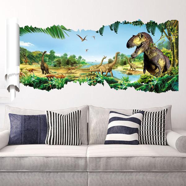 Cartoon Removable Jurassic Animals gld2 3D Dino Sticker painting picture for Children Room Baby dinosaur Stickers 90x50cmMX190926