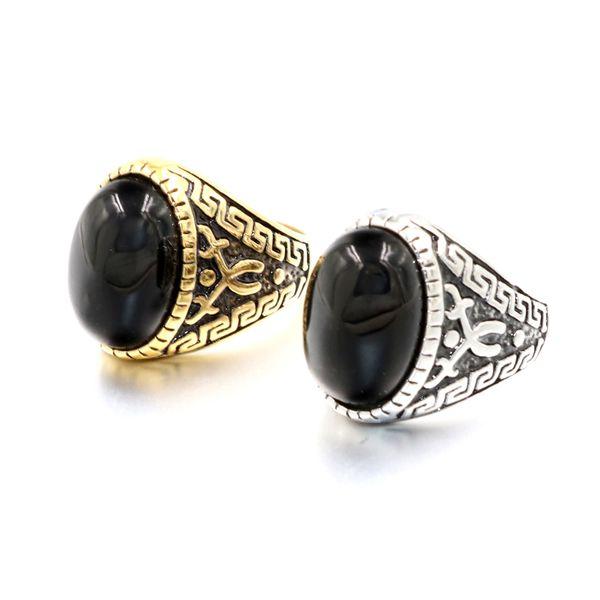 New Royal Magic Black Garnet Ring Vintage Black Titanium Steel Sculpture Pattern Rings for Women Men Punk Style Jewelry Wholesale