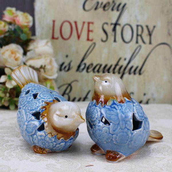 Decoración del hogar cerámica Adornos chinos adornos artesanales porcelana azul y blanca para aves cerámica animal Jingdezhen porcelana