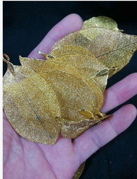 Handmade Leaf Maple Leaf 18K Gold Plated Metal Pendant Free Shipping M2
