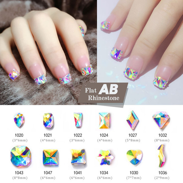 10Pcs Shiny Crystal Rhinestones Nails AB Colorful 3D Flatback Glass Gems Jewelry Glitter DIY Nail Art Decorations 30 Designs