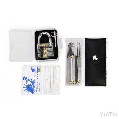 Transparent practice 7 pin lock padlock + 12pcs/set Lock picks Tools locksmith + 5pcs credit card lock pick set