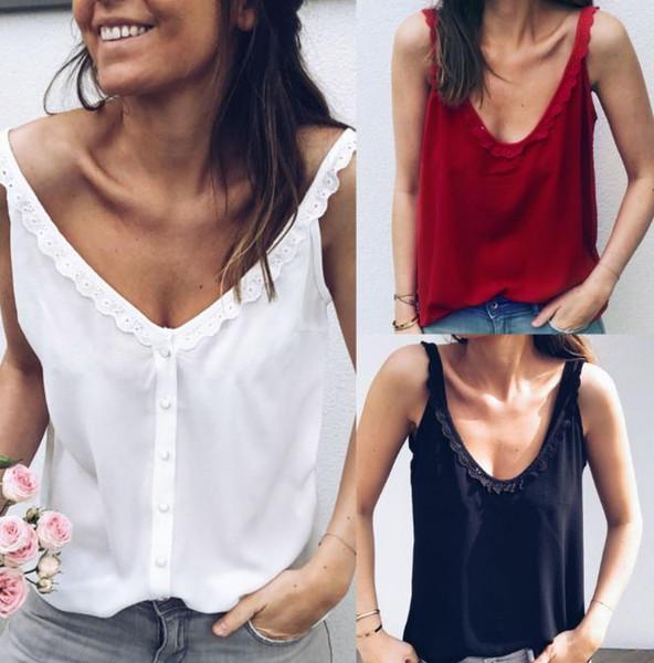 2019 Женщины Повседневная Свободный Летний Топ Кружева Блузка Без Рукавов Дышащий Базовый Жилет Loungewear Solid debardeur femme camisetas mujer