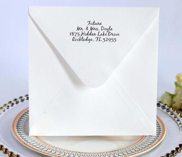 Custom Address Printed Wedding Invitation Card Envelops 2019 White