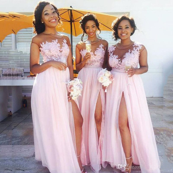 2019 Hot Sale Bridesmaid Dresses Long Baby Pink Chiffon A-line Bridesmaid Dress High Leg Split Formal Party Gowns Custom Made Plus Size