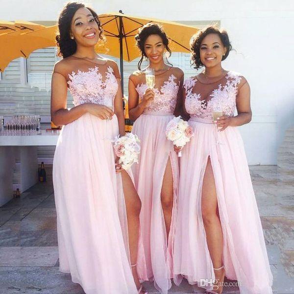 2019 Venta caliente Vestidos de dama de honor Largo Baby Pink Chiffon A-line Vestido de dama de honor Pierna alta Partido Formal Vestidos de fiesta por encargo más tamaño