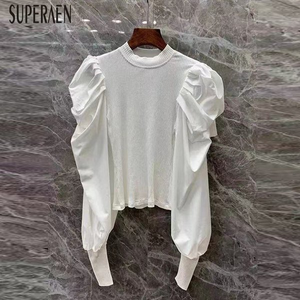 SuperAen Nova 2019 da Europa Mulheres selvagem camisola de algodão cor sólida Puff luva feminina blusas moda casual Mulheres Tops