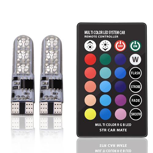 10XT10 lumières LED Intérieur signal Stroboscopique tour de coin RGB ampoule de lecture à l'intérieur du dôme de coin Flash 194 168 W5W 5050SMD à distance Blanc Rouge Orange 12V