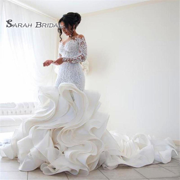 best selling 2019 Vintage Long White Lace Ruffles Mermaid Bride Dress Sexy Evening Wear Formal Gown High-end Wedding Boutique