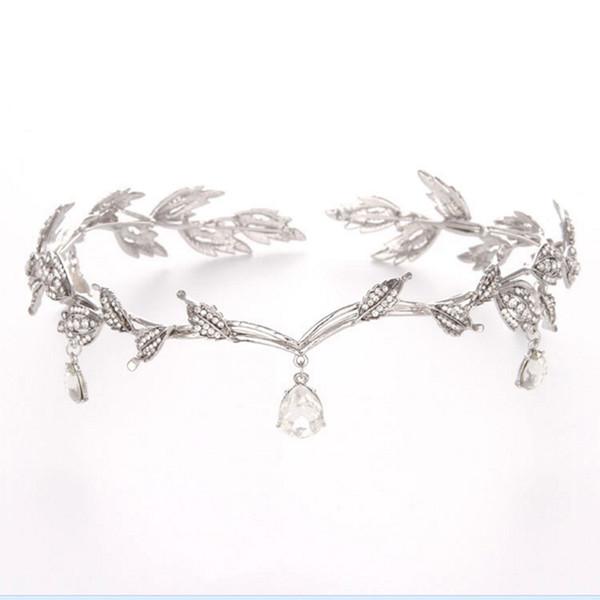 Nupcial cristalino de la vendimia del accesorio del pelo de la boda del Rhinestone de imitación gotas de agua Hoja corona de la tiara diadema frontlet dama de pelo