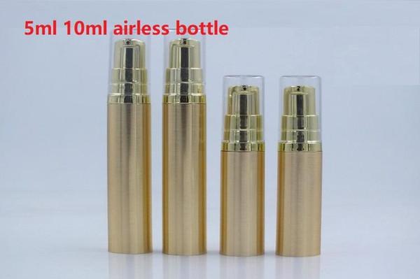 losyon pompası Konteyner ile 1000pcs 5ML 10ML Altın Havasız Losyon Pompası Şişe emtpy Doldurulabilir Esans şişe