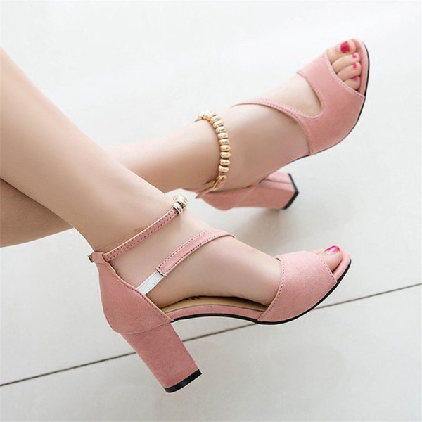 2019 printemps bouche de poisson sexy sandales romaines creuses épais avec un mot avec des talons hauts perlés femme été Sexy sandales femmes