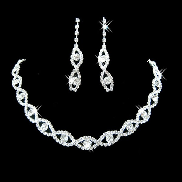 Le Liin Crystal Bridal Cheap Fashion Costume Jewelry Sets Silver Rhinestone Wedding Jewelry Necklace Earrings Sets for Women