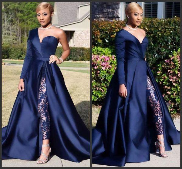 2019 New Elegant One Shoulder Long Sleeve Evening Dresses Pant Suits A Line Dark Navy Split Prom Party Gowns Jumpsuit Celebrity Dresses