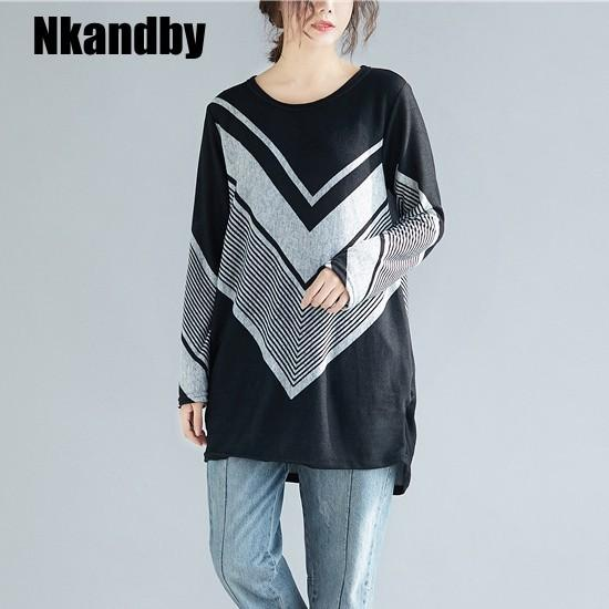 Nkandby V Pattern Cotton Warm Ladies Tshirts 2019 Spring Plus size Clothing Long sleeve Woman Tshirt Top femme manche longue Tee