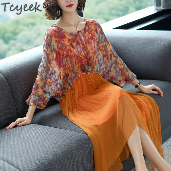 Großhandel Frühling Seidenkleid Frauen Drucken Elegante Lange Kleider Party Maxi Kleider Sommer Strandkleid Vestidos Mujer 2019 LWL1492