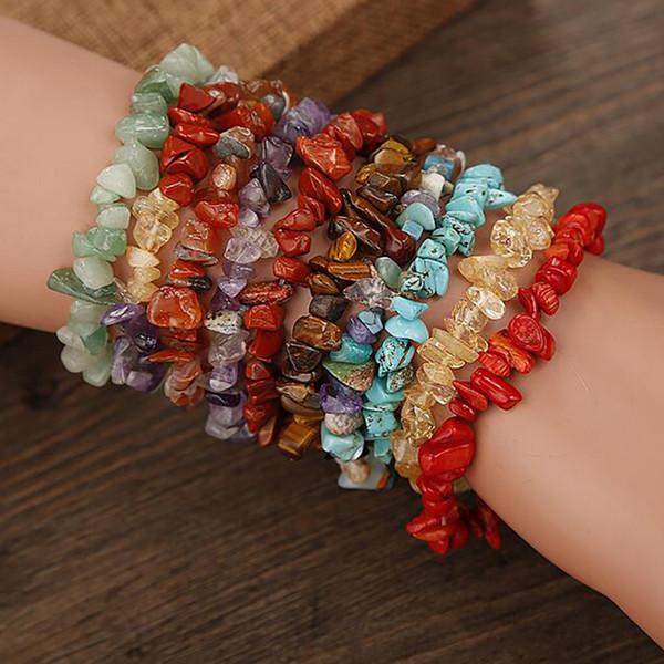 Vendita calda perline di ghiaia naturale perline di alta qualità perline braccialetto braccialetto di guarigione di cristallo braccialetto di pietra preziosa braccialetto irregolare