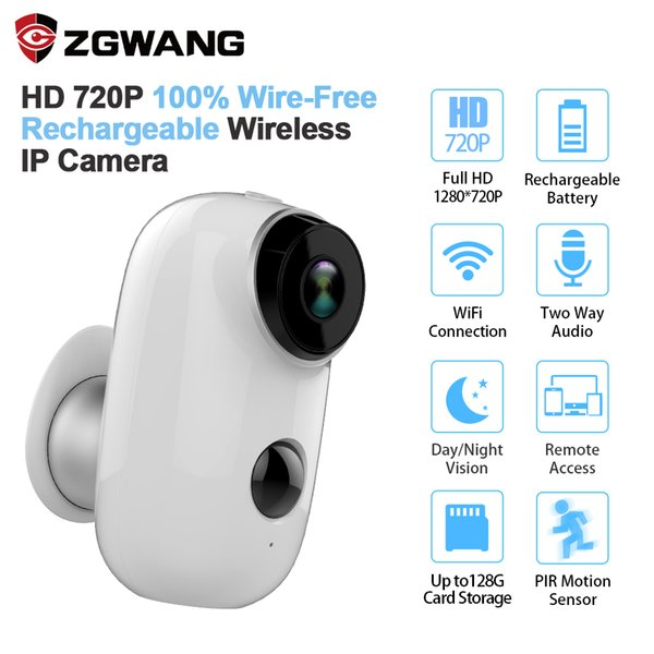 ZGWANG 100% Wire-Free CCTV Wifi IP Camera Outdoor IP65 Weatherproof Rechargeable Home Security Camera PIR Motion Alarm ipcam