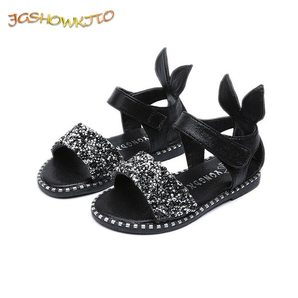 Jgshowkito 2019 Hot Sale Baby Girl Sandals Fashion Bling Shiny Rhinestone Girls Shoes With Rabbit Ear Kids Flat Sandals 13-22cm Y19051303