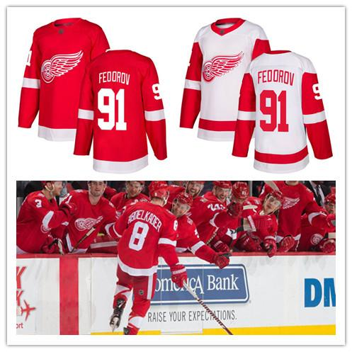 Men's Sergei Fedorov jersey Detroit Red Wings 91 Fanatics Red Home Premier White Away Breakaway Hockey Jersey Women's Youth CCM stitched