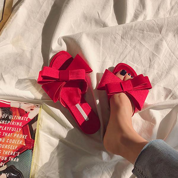 soie véritable pantoufles papillon-noeud femme mode marque conception mules chaussures été riband noeud noeud glissières femme tongs
