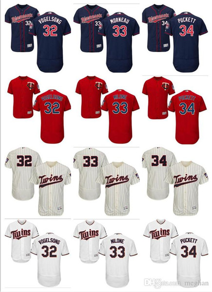 Men Women Youth Majestic custom Twins Jersey #32 Ryan Vogelsong 33 Justin Morneau 34 Kirby Puckett Home Red Nary Blue Baseball Jerseys
