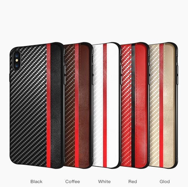 Luxury Cover For iphone XR XS MAX X 8 7 6S plus Carbon Fiber Leather Texture Cell phone Case for Samsung Galaxy S8 S9 S10 PLUS S10e Note 9