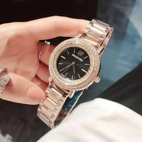 Modemarke Swarovski Frauen Gold Uhr Kristall Zifferblatt Stahl Damen Kette Armbanduhr Luxus Qualität Freizeit Designer Quarzuhr Uhren Katze