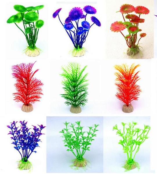 30 projetos de plantas de aquário artificiais aquário decoração tanque de peixes planta de plástico artificiais cores sortidas falsas decorações de aquário