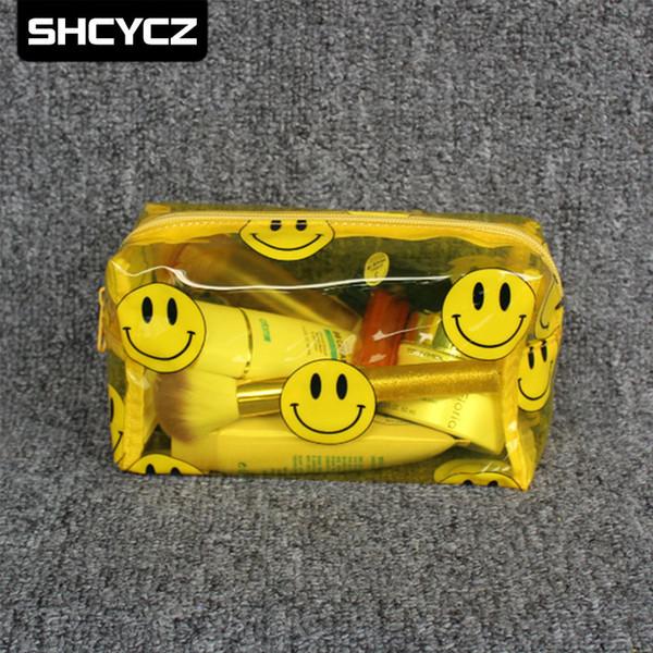 Transparent Cosmetic Bag PVC Makeup Pouch Pellucid Beauty Case Vanity Cartoon Make Up Bag For Women Travel Organizer Kit etui