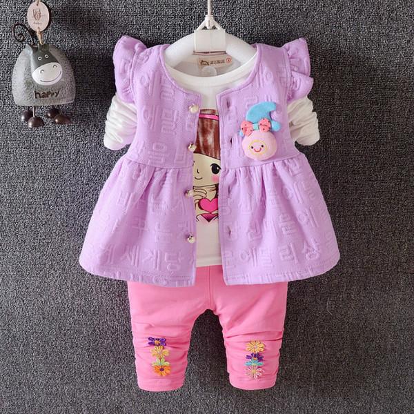 Fashion Children Girls Clothing Suits 2019 Spring Autumn Baby Vest T-shirt Pants 3Pcs/Sets Kids Clothes Toddler Tracksuits