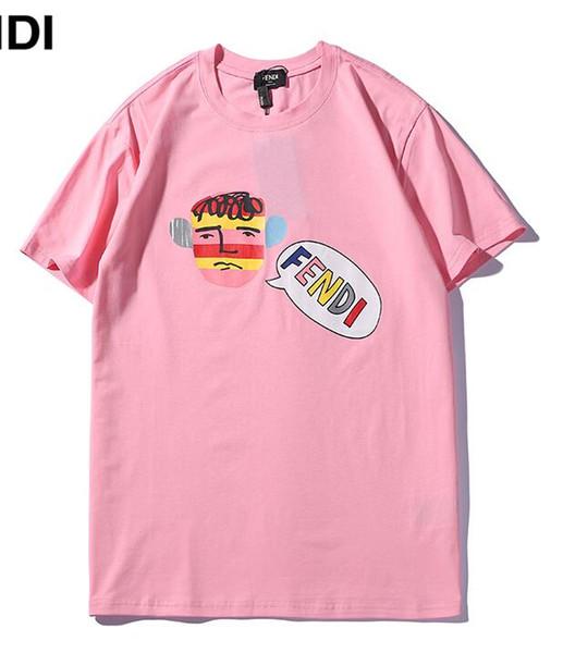 2019 nuevos Hombres camiseta rosa MODO logotipo f Letra Niño pintura Camiseta impresa Manga corta mujeres Hip Hop Street kanye west Tops Tee S-XXL