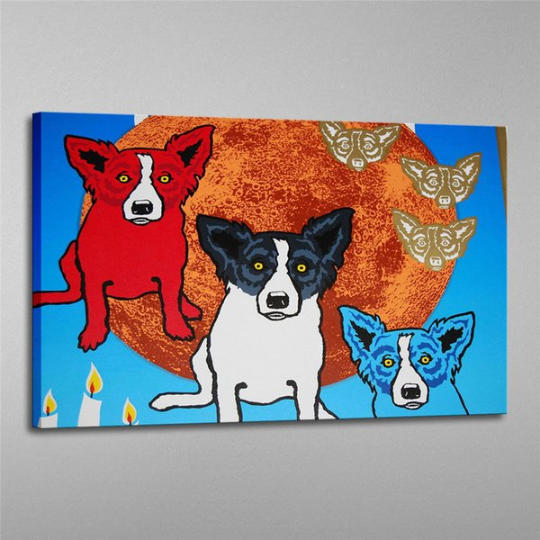 Blue Dog -31,1 Pieces Home Decor HD Printed Modern Art Painting on Canvas (Unframed/Framed) 16X24.