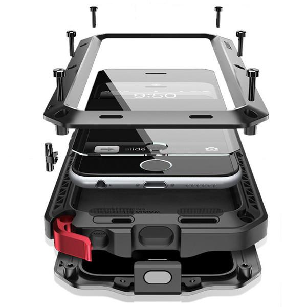Heavy Duty Téléphone Cas Pour iphone XsMax Xs Xr X 8 7 plus 6S 6 Plus 5 5S SE Couverture Antichoc Tough Armure Verre En Verre