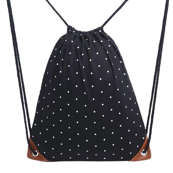 Women Canvas Polka Dot Casual Sack Bag Gym Storage Backpack Drawstring Soft Ladies Lightweight Sports Portable Convenient Travel