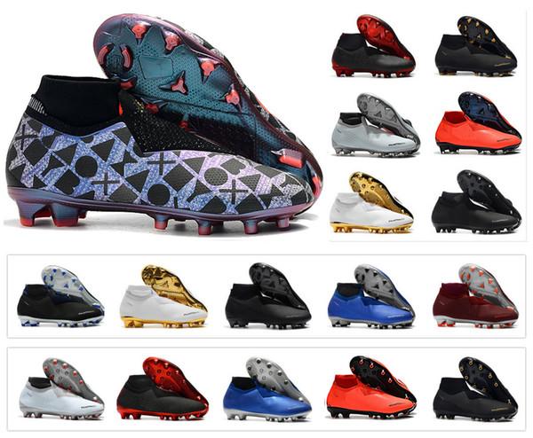 جديد فانتوم الرؤية الظل النخبة df fg vsn اللعبة على رجل عالية الكاحل كرة القدم المرابط أحذية كرة القدم حجم US6.5-11