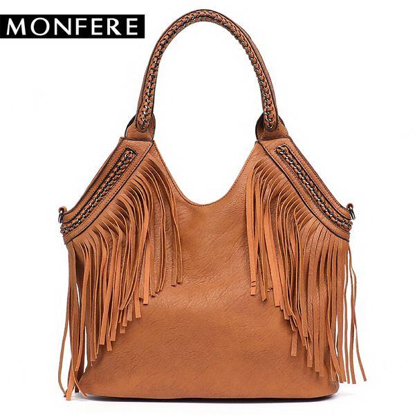 2019 Fashion MONFERE Fashion Female Shoulder Bags Large Tassle Women Tote Bags Chain Handle Messenger Bag Vegan Leather Hobo Fringe Handbag