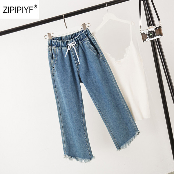 spring 2019 new jeans wide leg elasti waist lace up denim pants tassel pocket elegant casual jeans trousers fashion style, Blue