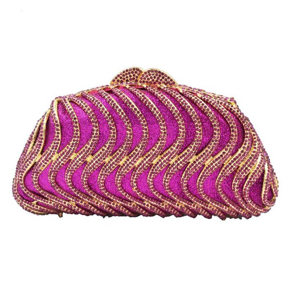 Fuchsia Luxury Crystal Evening Bags Women Party Purse Wedding Clutch Bags A564
