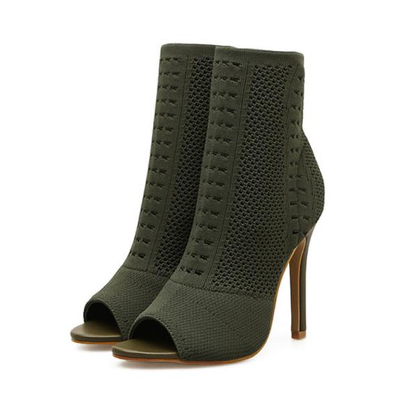 Elastic Knit Sock Boots Spring Women Peep Toe High Heels Green Ladies Fashion Kardashian Ankle Boots Breathable Thin Heels Women Pumps