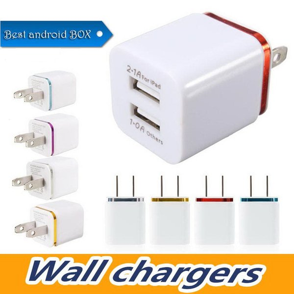 Metal Home Wall Charger US EU Plug Dual USB 2.1A AC Power Adapter 2 Ports For S6 LG Tablet iPad iPhone 7 Galaxy Note LG Tablet Ipad