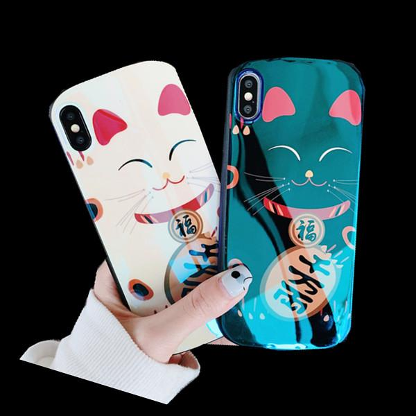 3D Kawaii Lucky Cat Blue Ray Case for IPhone X XS MAX XR 8 7 6 S 6S Plus 8plus I Phone X Cell Phone Cases Luxury Couple Back Cover