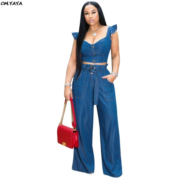 2019 women summer new fashion ruffles shoulder jean crop top straight pants suit two piece set denim tracksuit outfit GLMOS915
