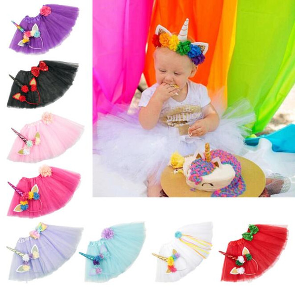 best selling Wholesale 9 Color Girls INS Unicorn TUTU skirt +hair accessory kids  clothes girls lace Bow flower decoration short skirt kids dress