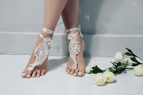 Beach Lace Wedding Barefoot Sandals Wedding Accessories Prom Bridesmaid Gift Bridal Shoes Ankle Strap Cheap In Stock Fast Shipping