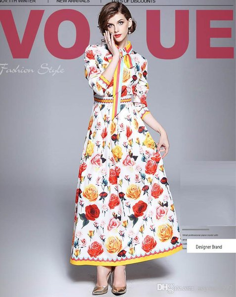 Fashion Printing Rose Floral Printing Autumn and Winter Long Dresses,Pretty Lady and Girls Runway Dress,Long Sleeve,Polo Neck