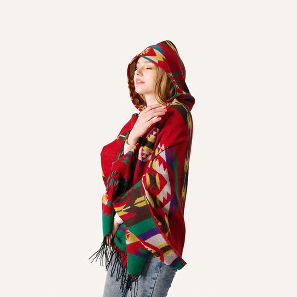 Long Stole Women Scarf Stitch Wool Geometric Patterns Printed Keep Warm Shawl Neck Scarf Cap With Hood Bandana Shawls 8-NEW