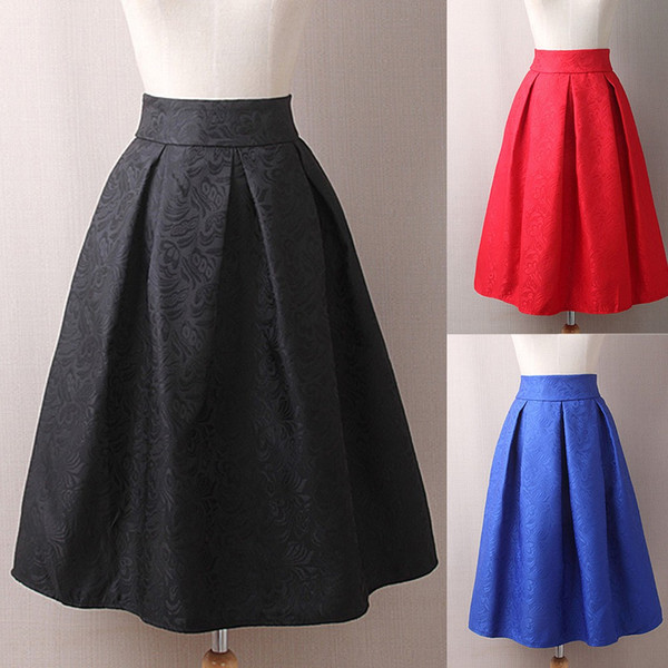 New Fashion Spring Summer Womens Vintage Printing Skirt High Waist Ball Gown Pleated Above Knee Solid Pattern Skirt For Female