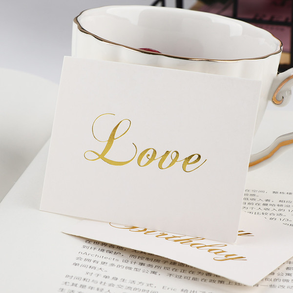 Mini Gold Embossed Thank You Card Valentine Happy Birthday