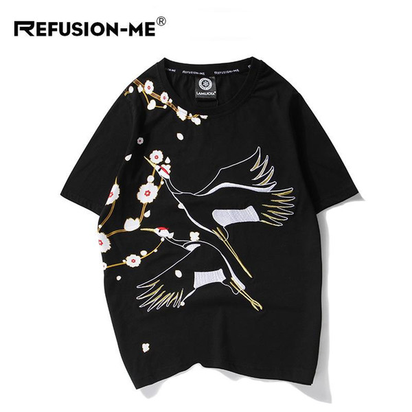 mens designer de t-shirt t-shirt de roupas de estilo chinês novo bordado guindaste em torno do pescoço de manga curta maré dos homens de manga curta T-sh solto